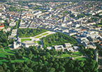 technology region, Karlsruhe from above; Carl Benz School